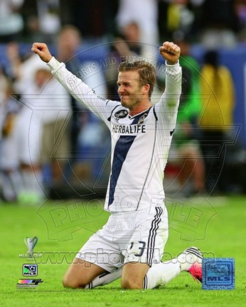 Framed David Beckham Celebrates Winning the 2012 MLS Cup Print