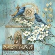 Blue Birds and Dogwood  Fine Art Print