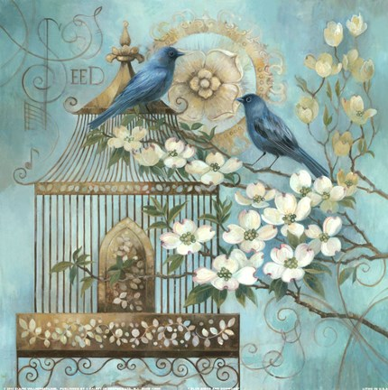 Framed Blue Birds and Dogwood Print