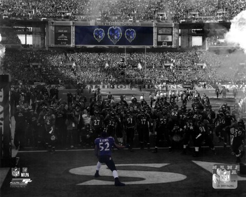 Framed Ray Lewis pre-game introduction final game in Baltimore 2012 Playoff Spotlight Print