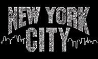 New York City Boroughs on Black  Fine Art Print