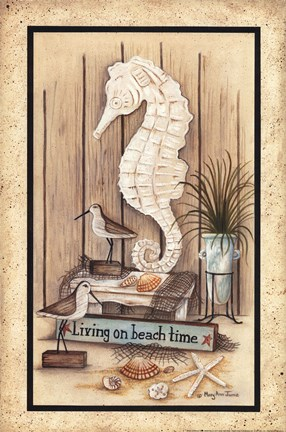 Framed Living on Beach Time Print