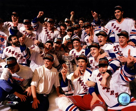 Framed New York Rangers 1994 Stanley Cup Champions Team Celebration Print