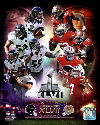 Framed Super Bowl XLVII  Match Up Composite Print