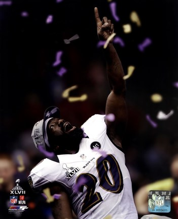 Framed Ed Reed Super Bowl XLVII Celebration Print