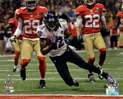 Framed Jacoby Jones running in Super Bowl XLVII Print