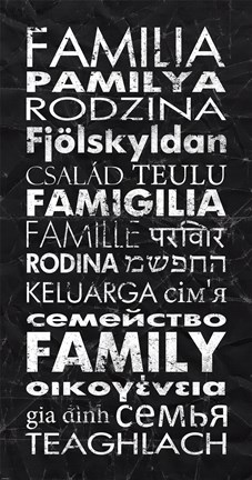 Framed Family in Different Languages Print
