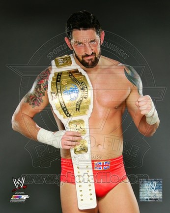 Framed Wade Barrett with the Intercontinental Championship Belt 2012 Posed Print