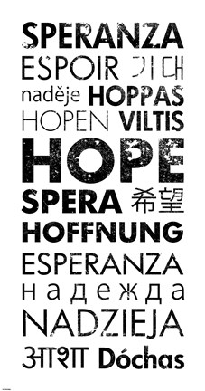 Framed Hope Languages Print