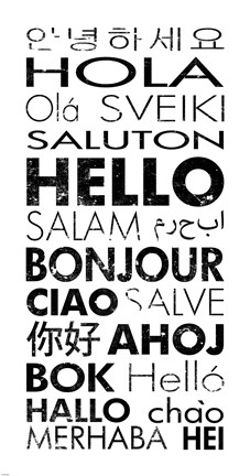 Framed Hello Languages Print
