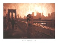Les Amoureux De Brooklyn Bridge  Fine Art Print