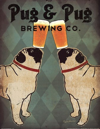 Framed Pug and Pug Brewing Print