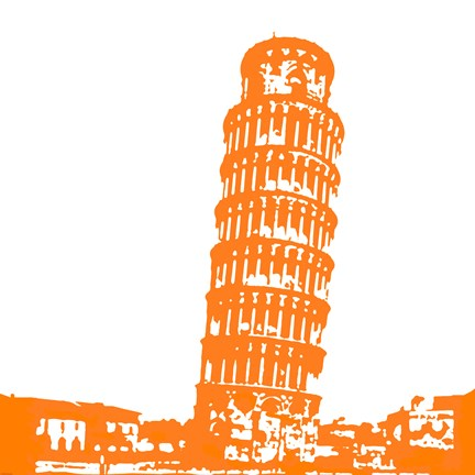 Framed Pisa in Orange Print