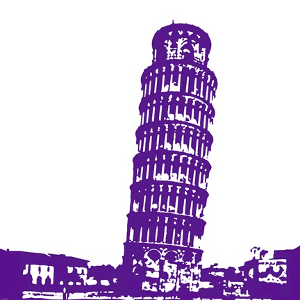 Framed Pisa in Purple Print