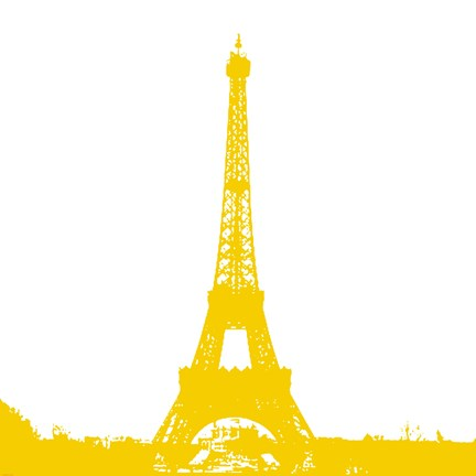 Framed Yellow Eiffel Tower Print
