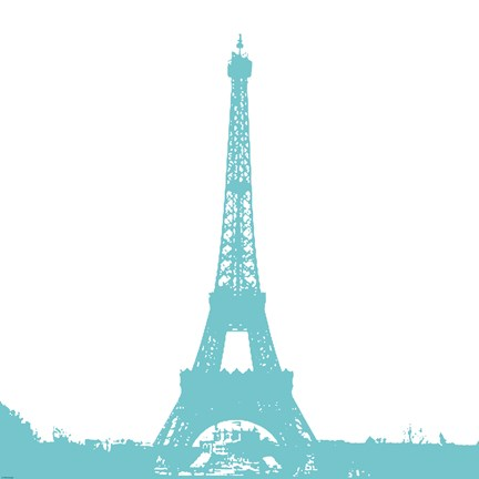 Framed Aqua Eiffel Tower Print