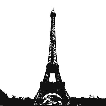 Framed Black Eiffel Tower Print