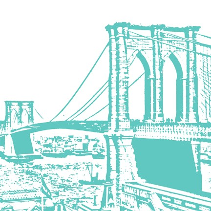 Framed Aqua Brooklyn Bridge Print