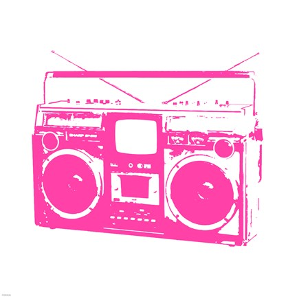 Framed Pink Boom Box Print