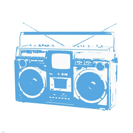 Framed Blue Boom Box Print