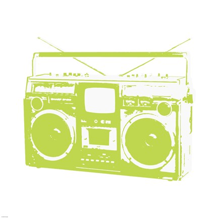 Framed Lime Boom Box Print