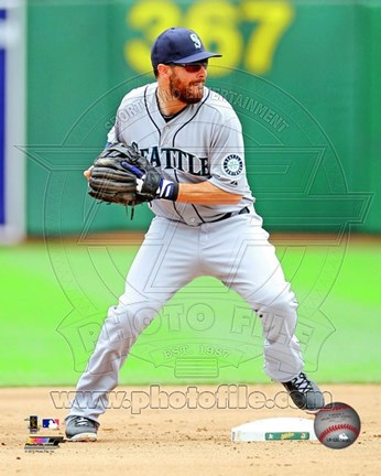 Framed Dustin Ackley Baseball Pitching Action Print