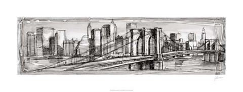 Framed Pen & Ink Cityscape II Print