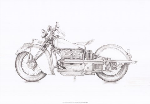 Framed Motorcycle Sketch II Print