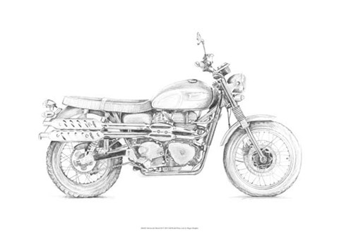 Framed Motorcycle Sketch III Print