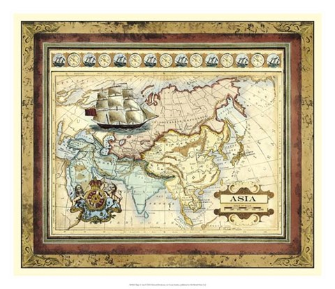 Framed Map of Asia Print