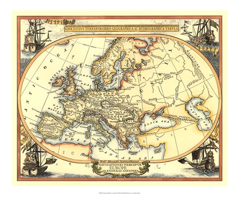 Framed Nautical Map of Europe Print