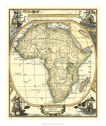 Framed Nautical Map of Africa Print