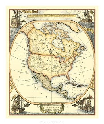 Framed Nautical Map of North America Print