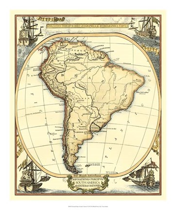 Framed Nautical Map of South America Print