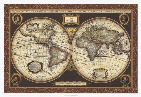 Framed Decorative World Map Print