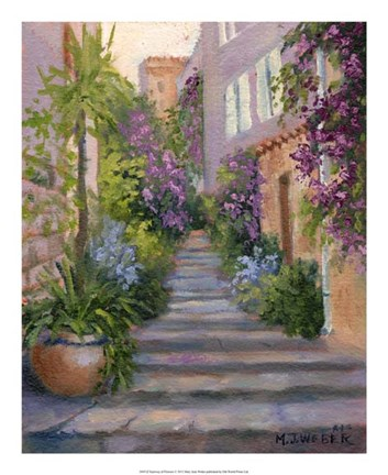 Framed Stairway Of Flowers Print