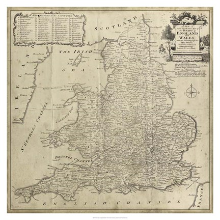 Framed Road Map of England & Wales Print