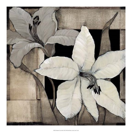 Framed Dramatic Lily Grid II Print