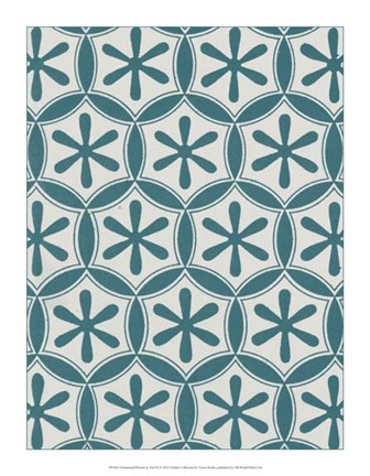 Framed Ornamental Pattern in Teal III Print