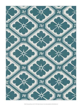 Framed Ornamental Pattern in Teal V Print