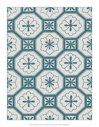 Framed Ornamental Pattern in Teal VI Print