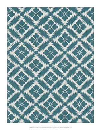 Framed Ornamental Pattern in Teal VII Print