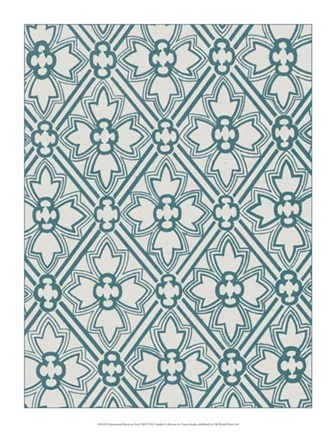 Framed Ornamental Pattern in Teal VIII Print