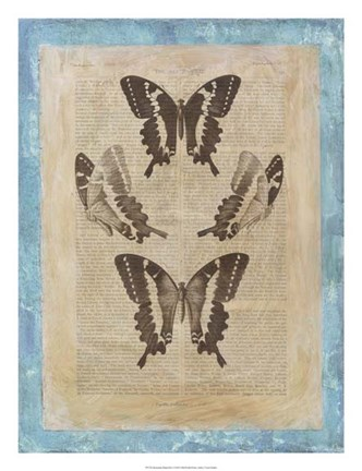 Framed Bookplate Butterflies I Print