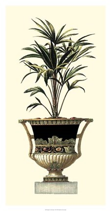 Framed Elegant Urn with Foliage I Print