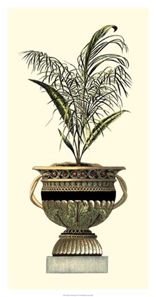 Framed Elegant Urn with Foliage II Print