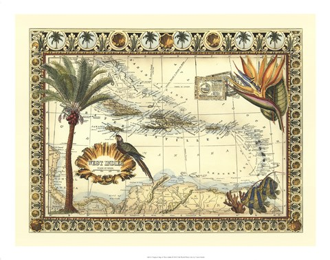 Framed Tropical Map of West Indies Print