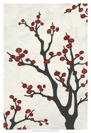 Framed Red Berry Branch II Print