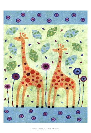Framed Giraffe Pair Print