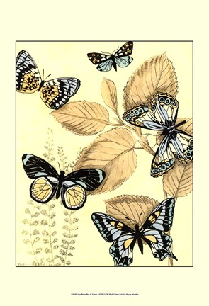 Framed Spa Butterflies in Nature I Print